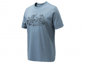 Beretta Engraving Ducks T-Shirt - Avio Blue