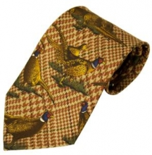Bisley Large Pheasant Brown Silk Tie