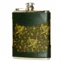 6oz Green Pheasant Fabric & Leather Flask by Bisley