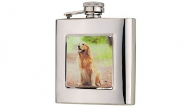 6oz Square Retriever Flask in Presentation Box by Bisley