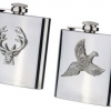 Stainless Steel/Pewter Motif Hip Flask  image 1