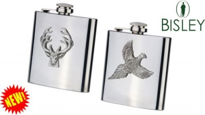 Stainless Steel/Pewter Motif Hip Flask