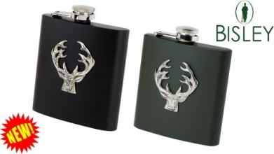 Coloured Metal Hip Flask - Stag