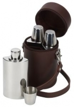 Brown Leather Travel Bar Whisky Set by David Nickerson