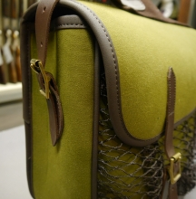 Green Game bag with Leather Trim