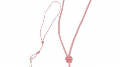 Pink Plaited Leather Lanyard